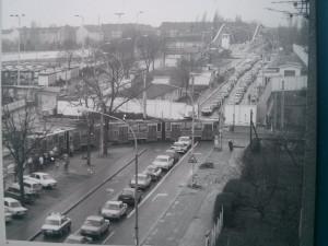 En Bolholmerstrasse los tranvías eran desviados al llegar a la frontera